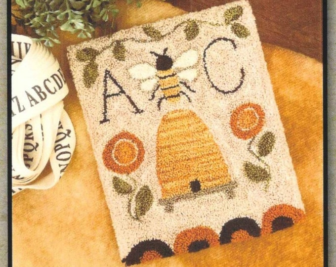 Featured listing image: Punch Needle Pattern, Bee Garden, Country Decor, Bee Skep, Sampler, Posies, Summer Decor, Garden, Little House Needleworks, PATTERN ONLY