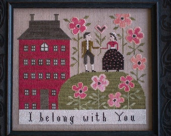 Counted Cross Stitch Pattern, Sweetheart Hill, Romance, Flowers, Inspirational, Valentine, Plum Street Samplers PATTERN ONLY