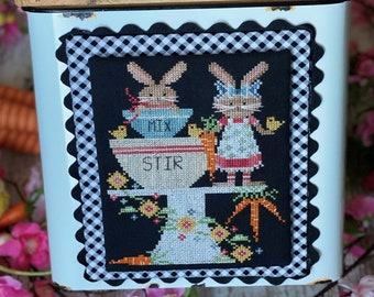 PRE-Order, Counted Cross Stitch Pattern, Bunny Bakery, Easter Bunny, Chicks, Carrots, Stitching with the Housewives, PATTERN ONLY