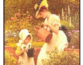 Counted Cross Stitch, The Young Gardener, Cross Stitch Patterns,  Primitive Decor, Rustic Decor, Summer Decor, G.D. Leslie, PATTERN ONLY