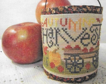 Counted Cross Stitch Pattern, Autumn Harvest, Fall Sampler, Autumn Leaves, Apple Wagon, Primitive Decor, Silver Creek Samplers, Pattern Only