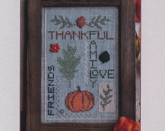 Counted Cross Stitch, Thankful Thoughts, Fall Decor, Autumn Decor, Fall Leaves, Thanksgiving, Pumpkin, AnnaLee Waite Designs, PATTERN ONLY