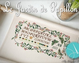 Counted Cross Stitch Pattern, Le Jardin de Papillon, Butterfly Garden Sampler, Flowers, Cottage Chic, The Elegant Thread, PATTERN ONLY