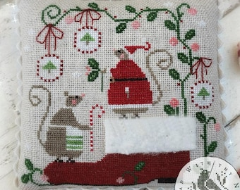 Counted Cross Stitch Pattern, When Santa's Away, Mice, Christmas Mice, Santa Boot, Christmas Decor, Brenda Gervais, PATTERN ONLY