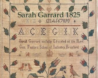 Counted Cross Stitch, Sarah Garrard 1825 Sampler, Reproduction Sampler, Antique Reproduction, Sampler Motifs, Needle Work Press