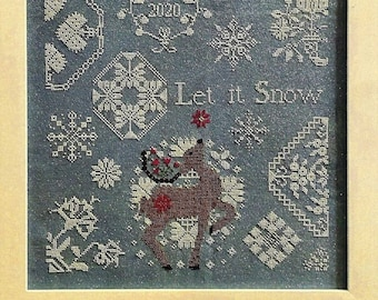 Counted Cross Stitch Pattern, Let It Snow, Reindeer, Snowflakes, Poinsettia, Winter Decor, White Tulips, Quaker Motifs, AuryTM, PATTERN ONLY