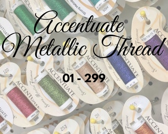 Accentuate, 01 - 299, Metallic Thread, Embroidery Thread, Embroidery, Cross Stitch Thread, Needlepoint, Blending Filament, Embellishment