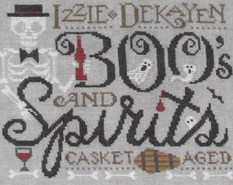 Counted Cross Stitch Pattern, Izzy Dekayen, Halloween Sampler, Skeleton, Halloween Decor, Autumn, Silver Creek Samplers, PATTERN ONLY
