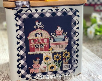 Counted Cross Stitch Pattern, Barnyard Bakery, Barn, Chickens, Pigs, Sunflowers, Stitching with the Housewives, PATTERN ONLY