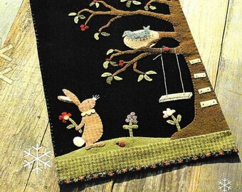 Wool Applique Pattern, Will You Be My Friend, Applique Table Runner, Primitive Decor, Spring Decor, Easter Decor, Nutmeg Hare, PATTERN ONLY
