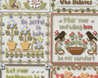 Counted Cross Stitch Pattern, Inspirational Scriptures, Bee Skep, Butterflies, Crows, Scripture, Little House Needlework, PATTERN ONLY