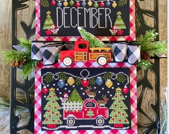 PRE-Order, Counted Cross Stitch Pattern, Truckin' Along, December, Vintage Truck, Christmas, Stitching with the Housewives, PATTERN ONLY