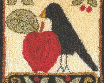 Punch Needle Pattern, Folk Art Crow, Crow, Fall Decor, Apple, Country Decor, Punch Needle Patterns, Little House Needleworks, PATTERN ONLY