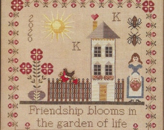 Counted Cross Stitch Pattern, Friendship Blooms, Flower Garden, Robin, Sampler, Hand Painted Button, The Blackberry Rabbit, PATTERN ONLY
