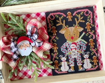 Counted Cross Stitch Pattern, Rudolph & Mr. Claus, Christmas Decor, Gingerbread, Stitching with the Housewives, PATTERN ONLY