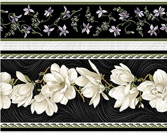 Quilt Fabric, Accent on Magnolias, Magnolia Blooms, Stripe Cream/Black, Floral Quilt Fabric, Benartex, Jackie Robinson, Animas Quilts