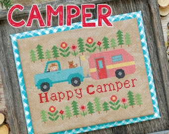 Cross Stitch Pattern, Happy Camper, Pick-Up Truck, Camper, Woodland, It's Sew Emma, Bee in My Bonnet, Lori Holt, PATTERN ONLY