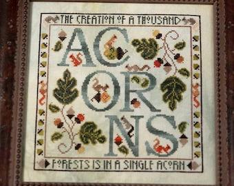 Cross Stitch Pattern, Acorns, Squirrels, Autumn Decor, Oak Leaves, Fall Decor, Woodland, The Blue Flower, PATTERN ONLY