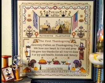 Counted Cross Stitch Pattern, The First Thanksgiving, Pilgrims, American Flag, Sampler, Country Rustic, Twin Peak Primitives, PATTERN ONLY