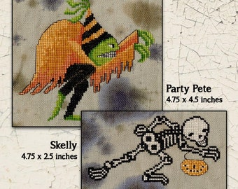 Counted Cross Stitch Pattern, Fabulous Monsters, Halloween Cross Stitch, Skeleton, Pumpkin, Halloween Decor, Teresa Kogut, PATTERN ONLY