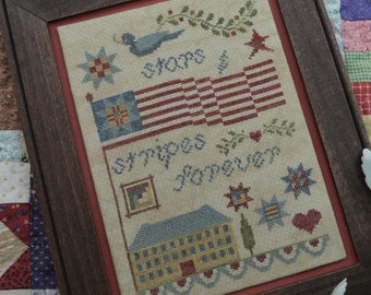 Counted Cross Stitch, Stars and Stripes Forever, Americana, Patriotic, Flag, Farmhouse Decor, Annie Beez Folk Art, PATTERN ONLY