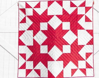 Quilt Pattern, Sugar Shack, Pieced Quilt, Star Quilt, Half Square Triangle, Twin Bed Quilt, Prow House Quilts, PATTERN ONLY