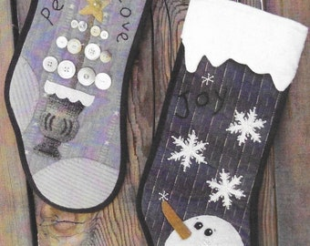 Wool Applique Pattern, Joy, Peace, Love, Christmas Stockings, Quilted Stockings, Snowman, Tree, Heart to Hand, Kathi Campbell, PATTERN ONLY