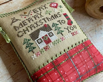 PRE-Order, Counted Cross Stitch Pattern, A Very Merry Christmas, Wee One, Christmas Ornament, Bowl Filler Heart in Hand, PATTERN ONLY
