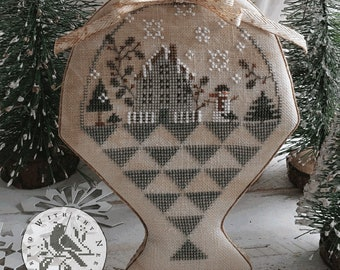 Cross Stitch Pattern, Winter Gatherings, Winter Decor, Snowman, Evergreen, Basket, Primitive Decor, Brenda Gervais, PATTERN ONLY