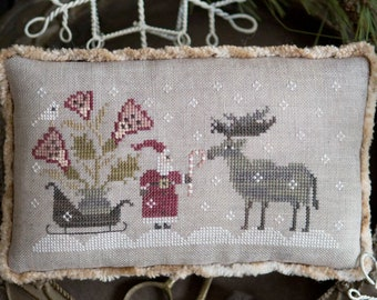 Counted Cross Stitch Pattern, For You, Christmas Decor, Santa, Moose, Candy Cane, Sled, Snowflakes, Plum Street Samplers, PATTERN ONLY
