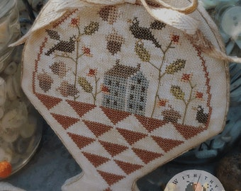 Cross Stitch Pattern, Autumn Gatherings, Fall Decor, Acorns, Saltbox, Basket, Primitive Decor, Brenda Gervais, PATTERN ONLY