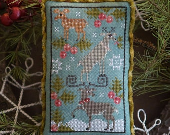 Counted Cross Stitch Pattern, Rack Stack, Reindeer, Christmas Ornament, Pillow Tuck, Holly, Plum Street Sampler, PATTERN ONLY