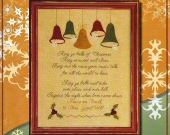 Wool Applique Pattern, Ring Ye Bells, Wool Applique Stitchery, Winter Decor, Christmas Decor, Framed Poem Verse, Nutmeg Hare, PATTERN ONLY
