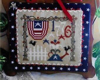 Counted Cross Stitch Pattern, 1776, Americana, Patriotic Cross Stitch, Primitive Decor, Independence, July 4th, Rovaris, PATTERN ONLY