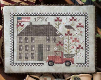 Counted Cross Stitch Pattern, Liberty Lodge, Vintage Truck, Americana, Independence, Flag, Eagle, Plum Street Samplers, PATTERN ONLY