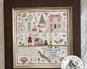 Counted Cross Stitch Pattern, Caroline Amelia Trowell, Reproduction Sampler, Antique Reproduction, Brenda Gervais, PATTERN ONLY