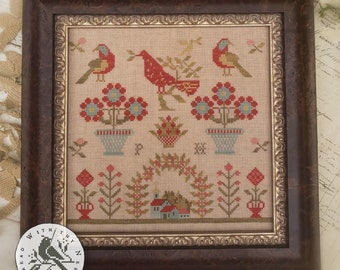 PRE-Order, Counted Cross Stitch Pattern, Red Bird Sampler, Antique Reproduction, Sampler Reproduction, Brenda Gervais, PATTERN ONLY