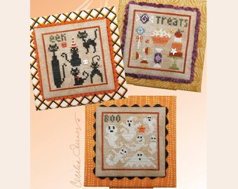Counted Cross Stitch Pattern, Halloween Square Dance, Halloween Series #1, Ghosts, Black Cats, Heart in Hand, PATTERN ONLY