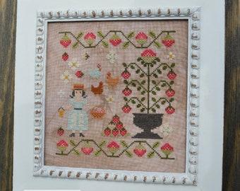 Counted Cross Stitch Pattern, Gathering Strawberries, Summer Decor, Strawberry Vines, Chickens, Garden, Annie Beez Folk Art, PATTERN ONLY