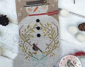 PRE-Order, Counted Cross Stitch Pattern, A Winter's Day Visit, Winter Decor, Snowman, Primitive Decor, Brenda Gervais, PATTERN ONLY