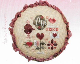 Counted Cross Stitch Pattern, Love Whirligig, Valentine Decor, Valentine Ornament, Love Ornament, Heart in Hand, PATTERN ONLY