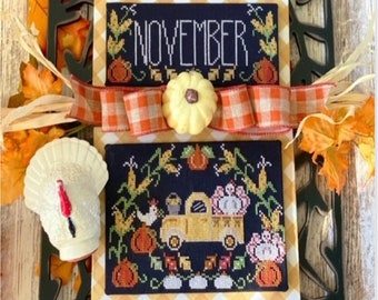 Counted Cross Stitch Pattern, Truckin' Along, November, Vintage Truck, Pumpkins, Stitching with the Housewives, PATTERN ONLY