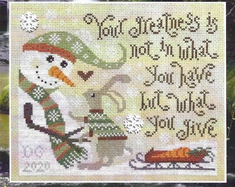 Counted Cross Stitch Pattern, Give Greatly, Winter Sampler, Snowman, Bunny, Inspirational, Winter Decor, Silver Creek Samplers, Pattern Only