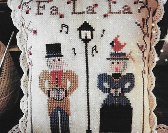 Counted Cross Stitch Pattern, Fa La La, Carolers, Christmas Decor, Caroling, Cardinal, Ornament, Fairy Wool in the Wood, PATTERN ONLY