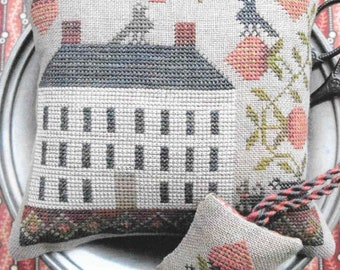 Counted Cross Stitch Pattern, Strawberry House, Pin Keep, Scissor Fob, Pincushion, Summer Decor, Sewing, The Scarlett House, PATTERN ONLY