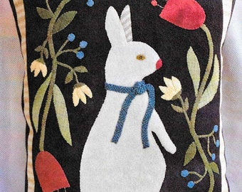 Wool Applique Pattern, Taking Time to Smell the Flowers, Spring Decor, Timeless Traditions, Wool Applique Pillow, Easter Decor, PATTERN ONLY