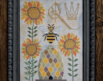 Counted Cross Stitch Pattern, Bee-sy Spring, Queen Bee, Bee Skep, A Time For All Seasons, Cottage Garden Samplings , PATTERN ONLY