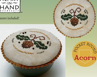 Counted Cross Stitch Pattern, Pocket Round Acorn, Fall Decor, Acorn, Primitive Decor, Heartware, Heart in Hand, PATTERN ONLY