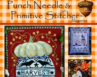 Punch Needle & Primitive Stitcher, Fall 2020, Punch Needle, Cross Stitch, Pumpkins, Witches, Fall Decor, Primitive Decor