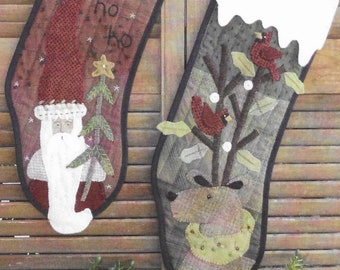 Wool Applique Pattern, Santy & Rudi, Christmas Stockings, Quilted Stockings, Santa, Rudolph, Heart to Hand, Kathi Campbell, PATTERN ONLY